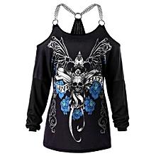 Plus Size Chains Embellished Skull T-shirt - BLACK