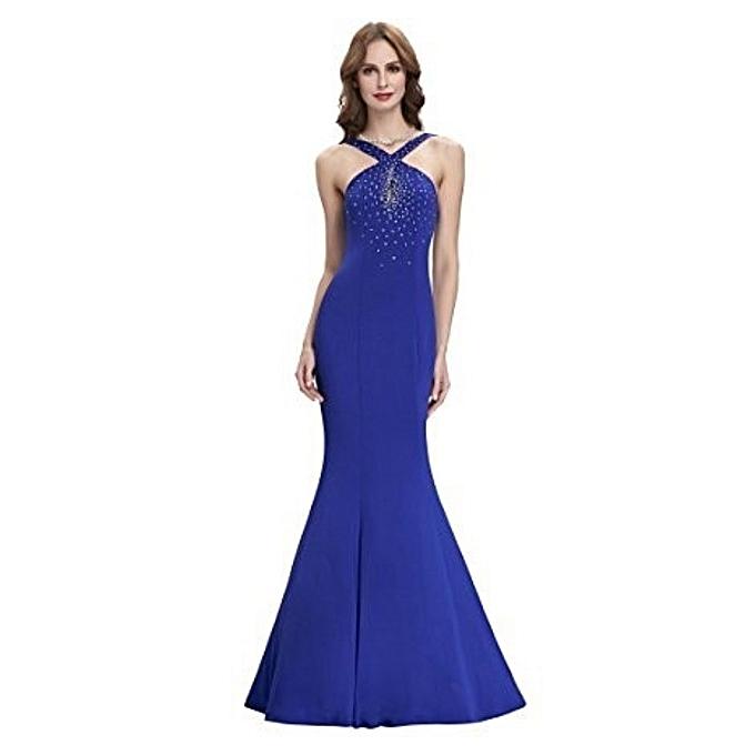 Buy Generic Halter Blue Long Evening Gown @ Best Price Online ...