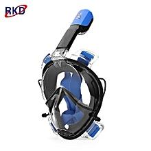 RKD Anti-fog Detachable Dry Snorkeling Full Face Mask Set_BLUE AND BLACK_M