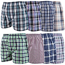 9Pcs Pure Cotton Men Checked Boxers multi pack