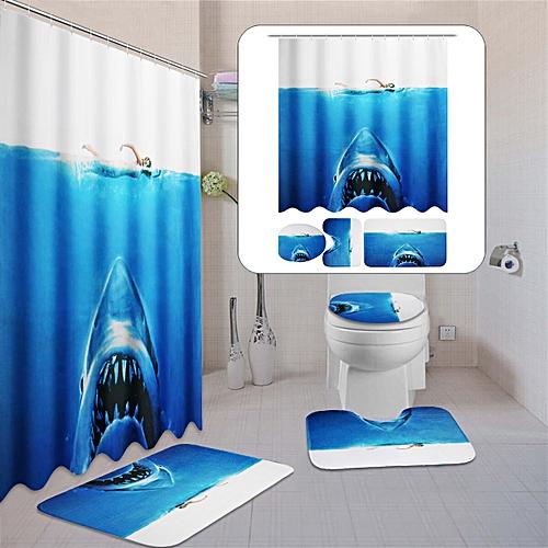 blue Shark sea 3d printing fabric Bathroom Shower Curtain Toilet Mat Cover  Rug