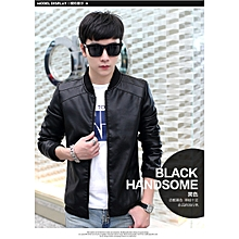 Cool Popular Classic Men's Europe and the United States Wind PU Leather Men's Jacket-black