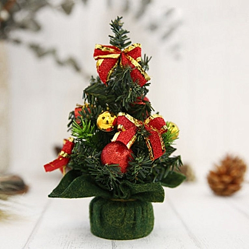 Generic Mini Christmas Trees Decorations Desktop Home Hotel Festival Window Ornaments red