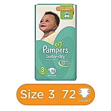 Baby Dry Diapers with Extra Absorb channels (6-10kg) - Jumbo Size 3 (72 Count)