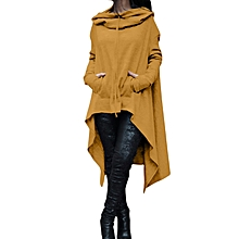 New women's new hot sale irregular solid color long hooded sweater-yellow