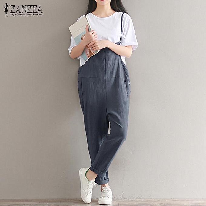 936432bfa1f S-5XL ZANZEA Womens Vintage Spaghetti Straps Solid Jumpsuit Romper  Playsuits Overalls Long Pants Trousers
