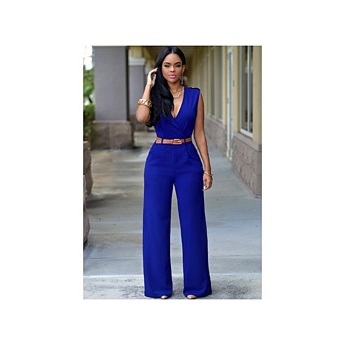 a39732b6b3 Wide Leg Jumpsuit Overalls 2016 Long Trousers Outfits Fashion Women Blue  Print Gold Belted Ladies Playsuits