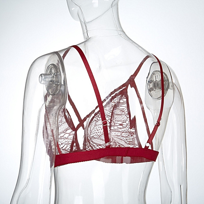 f55259c0c2ae2 ... singedanWomen Sexy Lingerie Floral Sheer Lace Bra Top Seamless Bralette  Cup Wireless Bra -Red