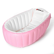 Portable Inflatable Bathtub For Babies Kid Baby Bath Thickening Folding Washbowl Pink