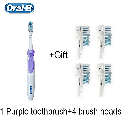 Oral B Electric Toothbrush Cross Action Soft Bristle Brush Head Replaceable  AA Battery Power 1 Toothbrush+ 4 Brush Heads(Purple)