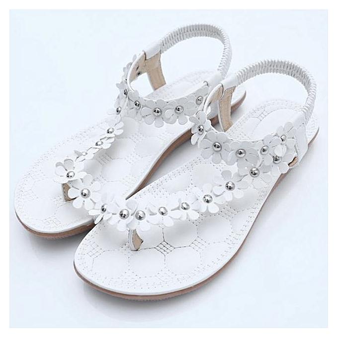 0b45dc74b946d8 Fashion bluerdream-Summer Bohemia Sweet Beaded Sandals Clip Toe Sandals  Beach Shoes-White (EU Sizing)