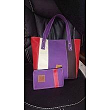 2 in 1 Ladies Faux Leather  Shoulder Bag + Purple Pouch
