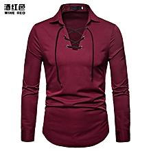 Men's Shirt  Men's Shoelace Lapel Fashion Shirt Casual Men's long sleeve shirt Slim Fit Male Shirts - red