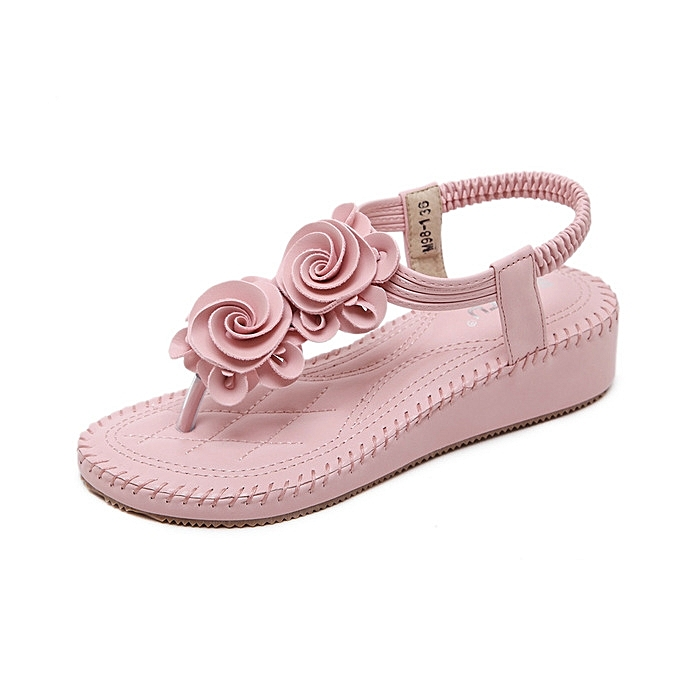 c65f649c296 New Large Size Crystal Sandals Summer Flip Flops Ladies Shoes Casual Bohemian  Flowers Wedge Sandals-