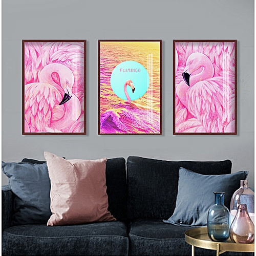 Qukau 3pcs 40 60cm Wall Painting Picture Mural Decoration Model Room Bedroom Fresco Dining Room Hanging Flamingo Hallway Painting Homeo Wall Painting