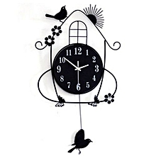 Iron Birds Design Wall Clock For Home Decoration - Black