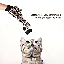 Leopard Print Cats Glove Toy Kitten Plaything With Plush Balls Pet Teaser Glove Cat Toys