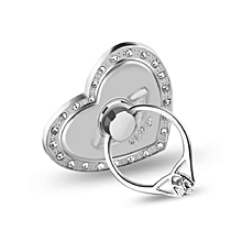 Creative Heart Shape Finger Ring Phone Holder Stand with Rhinestone Universal silver