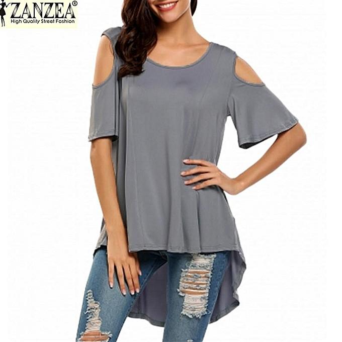 a6ae051c42d ZANZEA Women's Short Sleeve Shirt Cut Out Irregular Hem Loose Tee Shirts  Cold Shoulder T-