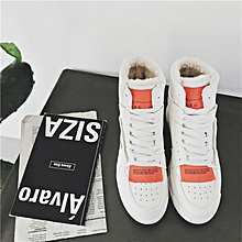 Winter new plus velvet cotton boots male ins trend high to help cotton shoes men thick snow boots-white