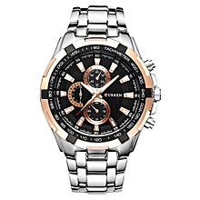 Watches, 8023 Luxury stainless steel Watch Men Business Casual quartz Watches waterproof - Silver