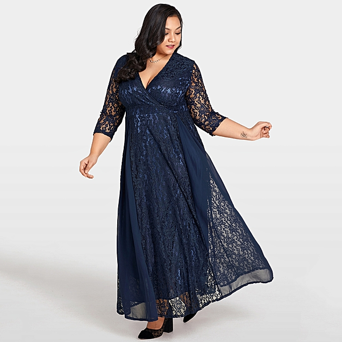 Fashion Women Plus Size Dress Solid Lace Chiffon Deep V 3 4 Sleeve High  Waist Maxi Gown Elegant Party Wear 2d238a5ae