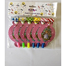 Sophia the first party whistles-6 pieces-Multicolored