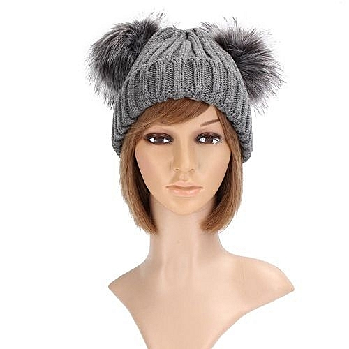 710089918bb981 Fashion Winter Outdoor Women's Knit Double Faux Fur Pom Pom Cap Warm Chunky  Beanie Hats Grey