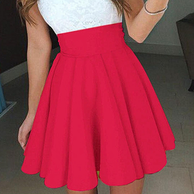 4c940e5b Womens Party Cocktail Mini Skirt Ladies Summer Skater Skirt-Red