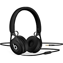 EP 3.5mm Wired Headphones On Ear Headset Stereo Music Earphone Enhanced Bass Line Control with Microphone Noise Isolation Black