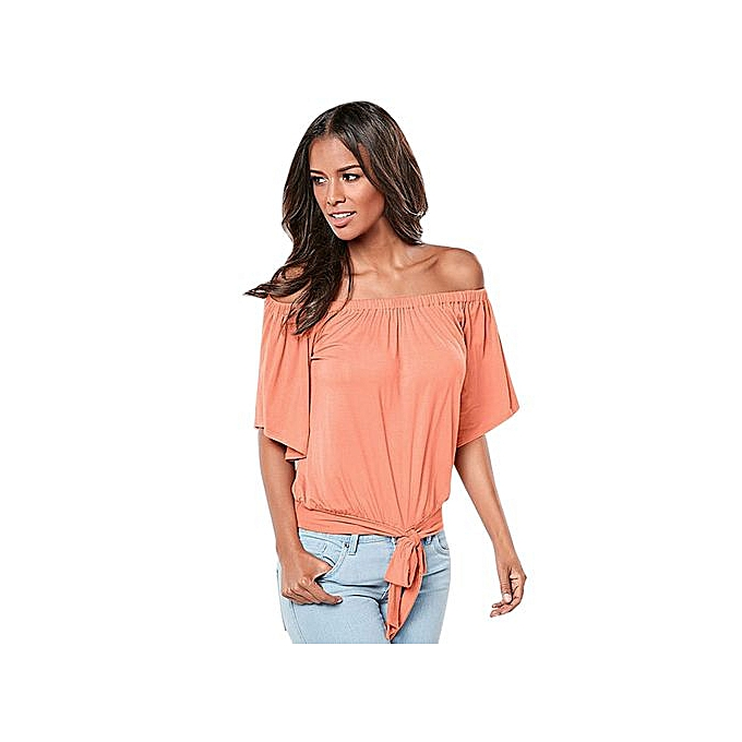 104c9376d50bd Hiaojbk Store Women Summer Cold Off Shoulder Short Sleeve Bow Solid Blouse  Top T Shirt OR