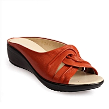 Leather Casual Shoe Slip On Soft Sole Breathable Wedge Slippers