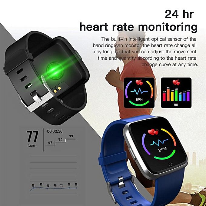 Y7 Color Smart Band Watch HeartSmart Bracelet Fitness Tracker Pedometer  Fitness Tracker Heart Rate Monitor For IOS Android (Silver Blue) Z-CHD