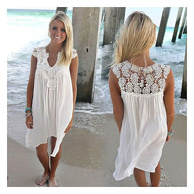 cd504deda26 Fashion Fohting BOHO Sleeveless Womens Loose Summer Beach Lace Dress ...