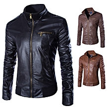 f7c66a17f85 New men  039 s leather jacket European and American leather jacket Trend  collar leather
