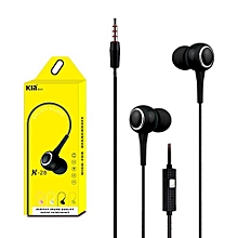GuoaivoUniversal 3.5mm In-Ear Stereo Earbuds Earphone With Mic For Cell Phone BK -Black