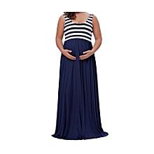 Women's Blue Striped Sleeveless Maxi Tank Dress