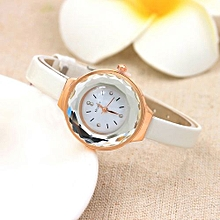 Lady  Leather Wrist Watch MCYKCY Women Fine Leather Band Winding Analog Quartz Movement Wrist Watch-White