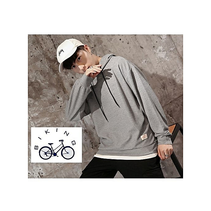 LIGHTH GREY Autumn Winter New 2018 Korean Young People Solid Color Hooded  Men Sweater Wild Slim 0439c510c8492