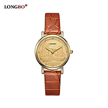 Watches, 80035S Women Brand Luxury Quartz Watch Casual Fashion Leather Strap Watches Woman Sports Wristwatch - Brown