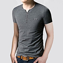 Mens Slim Fit V Collar T-shirt Short Sleeve Shirt Casual Tee Tops GY XXL- Gray