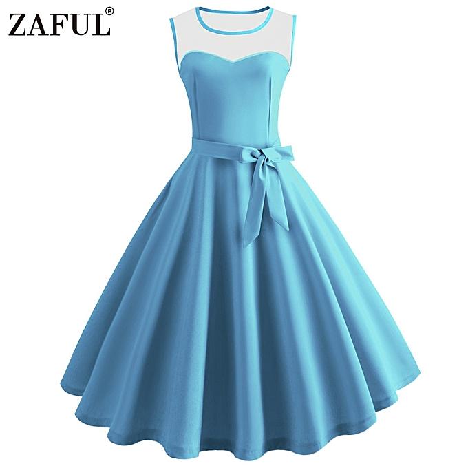 f84127cf192 Zaful Hepburn Vintage Series Women Dress Spring And Summer Grenadine  Stitching Design Sleeveless Belt Retro Corset