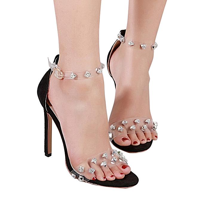 5049fc6ab2e jiuhap store Fashion Women High Heel Pumps Lady Martin Girls Heel diamond highheel  Sandals-Black