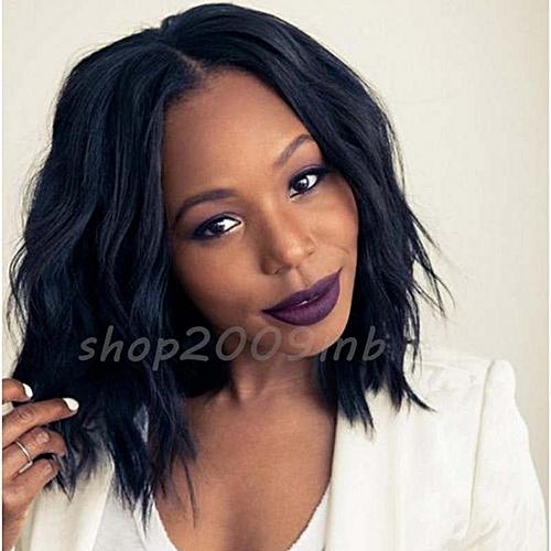 13f7e92787b370 Generic Nice Short Wavy Bob Human Hair Full Wig Glueless Wigs Black Women  Curly Middle Part