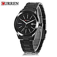 Curren 8091 Male Quartz Watch Calendar Luminous Water Resistance Stainless Steel Band Wristwatch-BLACK