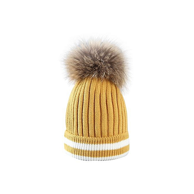 Fashion Outdoor Winter Hat Hair Ball Stripe Knitted Hat Women Hat Beanies  Cap YE 746bcb05dab