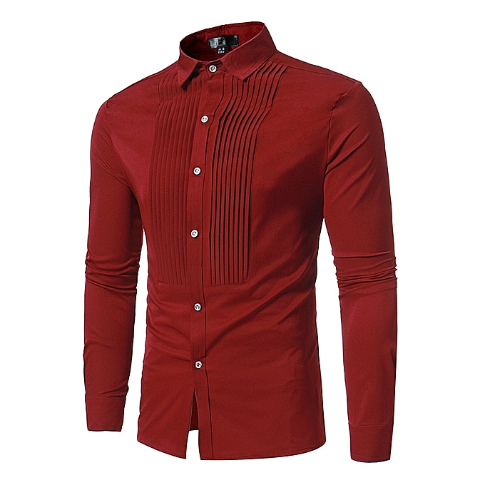 71d66206e423 AFankara Men Dress Shirt Stylish Cotton Casual Shirt - Red @ Best ...