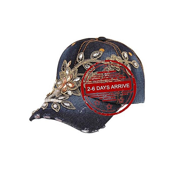 Zetenis 2015 New Vogue Women Diamond Flower Baseball Cap Summer Style Lady  Jeans Hats -C d807c54f422