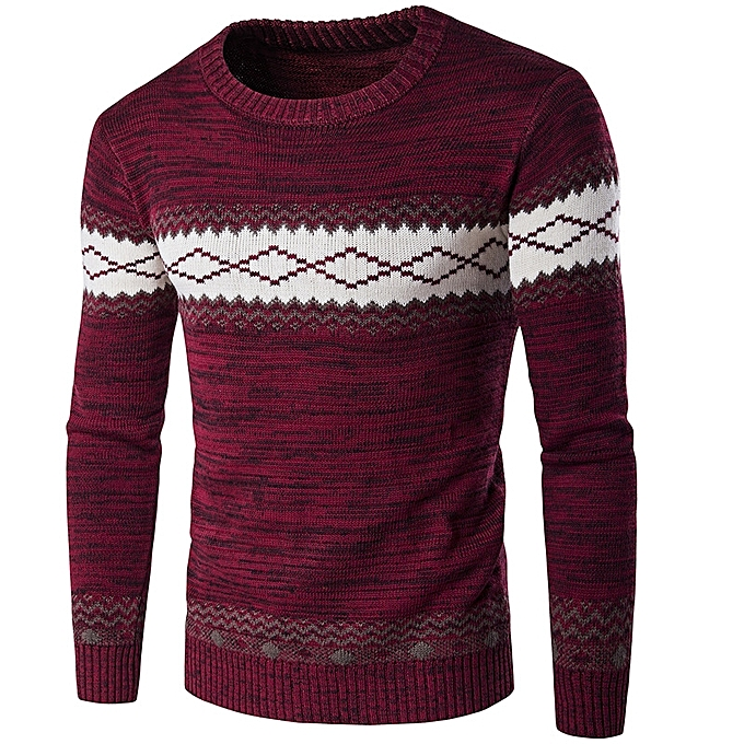 925e337203e059 European and American men s sweater national wind warm sweater knit thicker- red