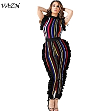 Hot Sleeveless Fashion Ladies Bodycon Costume Sleeve O-neck Women Jumpsuits Striped  Night Club Rompers-red